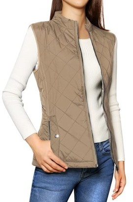 Unique Bargains Women's Zip Up Quilted Padded Vest
