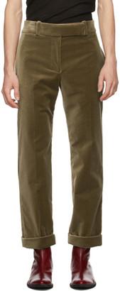 Haider Ackermann Khaki Velvet Classic Trousers