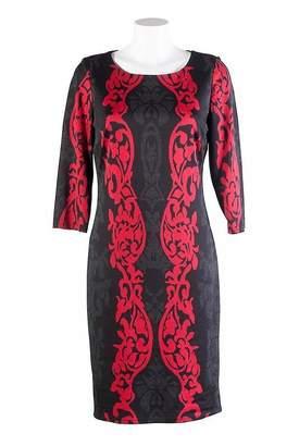 Hourglass Frank Lyman Block Pattern Black & Red Dress