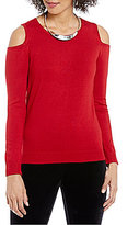 Chelsea & Theodore Cold-Shoulder Solid Knit Top