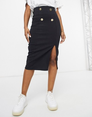 ASOS DESIGN bengaline pencil midi skirt with button detail in black