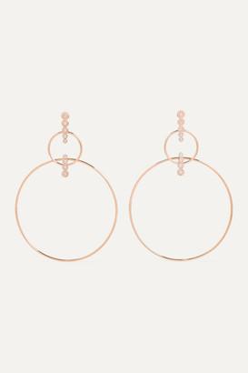 Diane Kordas Double Hoop 18-karat Rose Gold Diamond Earrings - one size