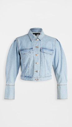 Veronica Beard Jeans Denim Pouf Sleeve Jacket