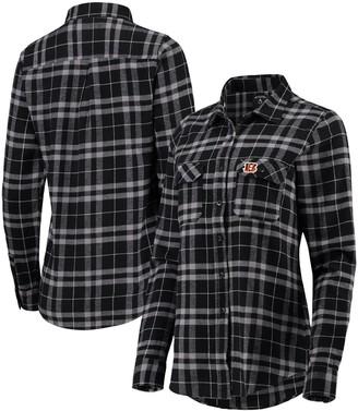 Antigua Women's Black/Gray Cincinnati Bengals Stance Flannel Button-Up Long Sleeve Shirt