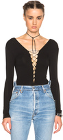 Alexander Wang Lace Up Bodysuit in Black.