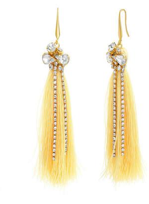 Catherine Malandrino Women Clustered White Rhinestone Yellow Gold-Tone Yellow Tassel Earrings