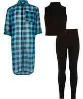 River Island Girls blue check shirt top leggings outfit