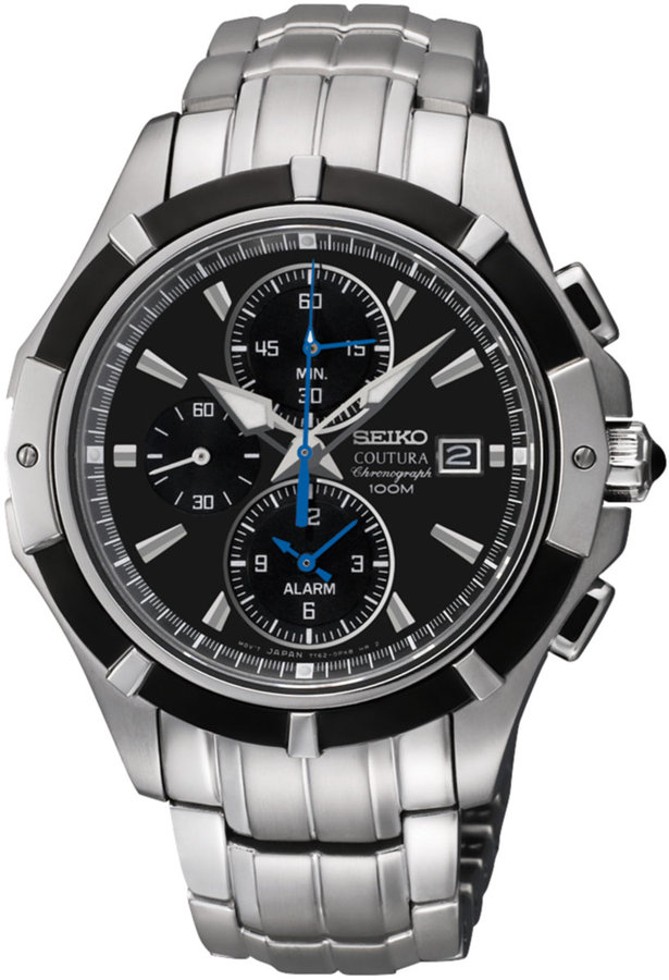 Seiko Men's Silver Chronograph Black Dial Watch