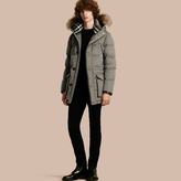 Burberry Down-filled Cashmere Parka With Detachable Fur Trim , Size: 46, Grey