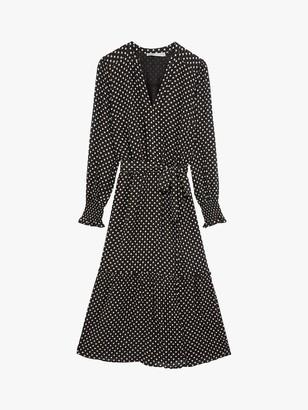 Oasis Sparkle Spot Midi Dress, Black/Multi
