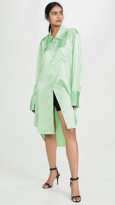 Alexander Wang Wet Shine Oversized Button Down Shirt