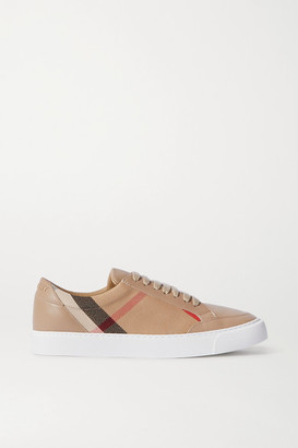 Burberry Leather And Checked Canvas Sneakers - Beige