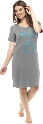 Follow That Dream Ladies Cotton Short Sleeve Printed Nightshirt Grey 8/10