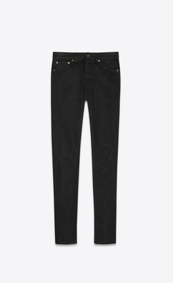 Saint Laurent Mid-rise Skinny Jeans In Black Stretch Denim Used Black 25