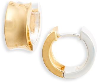 Argentovivo Two-Tone Huggie Hoop Earrings