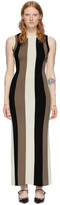 Ami Alexandre Mattiussi Beige Striped Rib Knit Dress