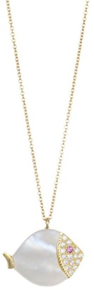 Mother of Pearl 18K Yellow Gold Carved White Mother-Of-Pearl, White Diamonds, Pink Sapphire Large Fish Necklace