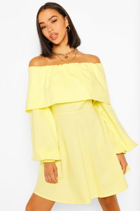 boohoo Cotton Bardot Skater Dress