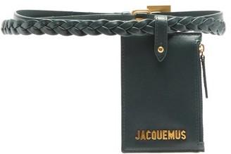 Jacquemus Braided Double-strap Leather Pouch Belt - Khaki