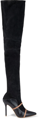 Malone Souliers Madison 100 Stretch-suede And Two-tone Leather Thigh Boots