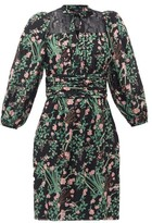 Giambattista Valli Pussy-bow Lace-trimmed Floral-print Silk Dress - Womens - Black Print