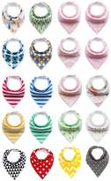 BabyPrice 20-Pack Super Absorbent Cotton Adjustable Baby Bandana Drool Bibs with 2 Snaps, Unisex Baby Gift