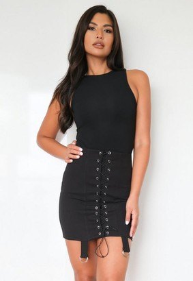 Missguided Black Lace Up Strap Detail Mini Skirt