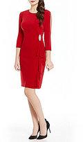 Jessica Howard 3/4 Sleeve Cascade Ruffle Dress