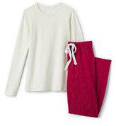 Lands' End Women's Petite Knit Sleep Set-Wharf Blue Snowflakes