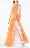 BCBGMAXAZRIA Scarleta Color-Blocked Cowl-Back Gown