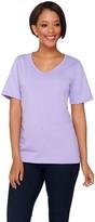 Denim & Co. Essentials V-neck Short Sleeve Top