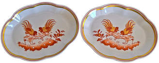 One Kings Lane Vintage Ginori Rooster Trinket Trays - Set of 2 - The Montecito Collection - white/multi