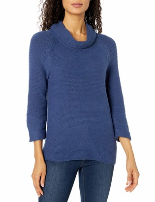 Leo & Nicole Women's 3/4 Sleeve Cowl with Texture Pullover Sweater