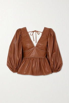 STAUD Luna Topstitched Faux Leather Peplum Top - Brown