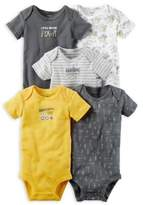 Carter's Preemie 5-Pack Tools Short Sleeve Bodysuits in Grey
