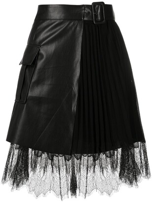 Self-Portrait Lace-Trimmed Belted Mini Skirt