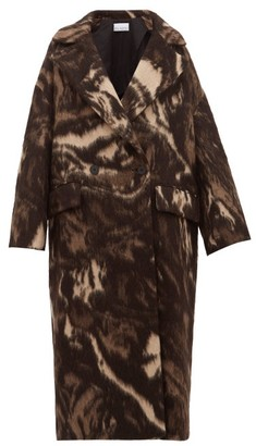 Raey Double-breasted Animal-print Wool-blend Coat - Womens - Brown Print