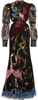Alexander McQueen Embellished Cutout Tulle Gown - Black