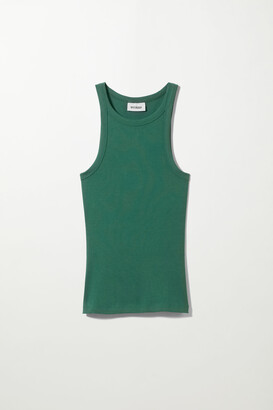 Weekday Beth Rib Tank Top - Green
