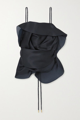Cult Gaia Rosa Draped Open-back Silk-organza Top - Midnight blue