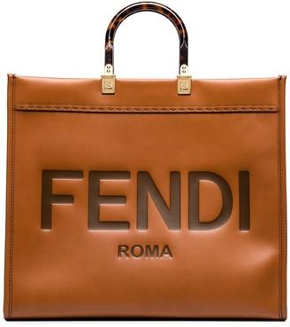 Fendi Sunshine logo-embossed leather tote bag