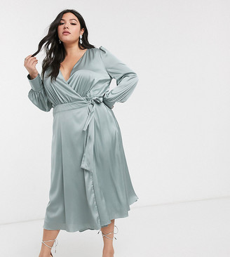 TFNC Plus bridesmaids long sleeve wrap front sateen midi dress with belt in sage