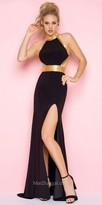 Mac Duggal Contrasting Beaded Open Back Halter Prom Dress