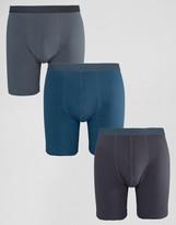 Asos Long Length Trunks In Blue 3 Pack