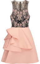 Marchesa Embellished Tulle And Satin Mini Dress