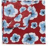 Topman Red and Blue Floral Print Cotton Pocket Square