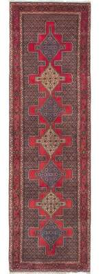 Ecarpetgallery One-of-a-Kind Senneh Hand-knotted Runner 3' x 9'1 Wool Dark Navy/Red Area Rug
