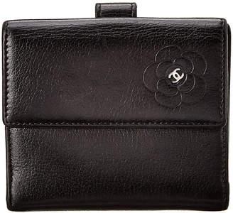 Chanel Black Calfskin Leather Camellia Wallet