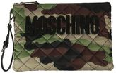 Moschino Quilted Logo Camo Clutch