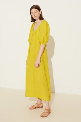 Mansur Gavriel Linen Balloon Sleeve Dress - Mustard